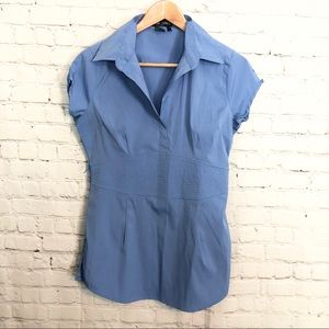 Cotton Express Blue Stretch Missy Top Size: Large